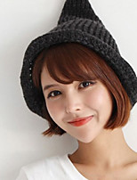 Women Hand Knitted Wool Casual Tapered Curling Candy-colored Monochrome Hat