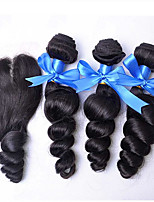 Grade 7A Unprocessed Peruvian Virgin Hair With Closure Queen Hair Products With Closure Bundle Loose Wave With Closure