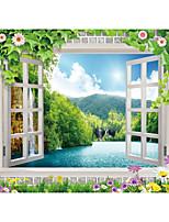 JAMMORY Art Deco Wallpaper Contemporary Wall Covering,Canvas Stereoscopic Large Mural Landscape Trees Lake
