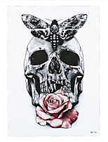 9PCS New Gray Butterfly Skull Rose Flower Arm Body Art Tatoo Sticker Waterproof Temporary Body Art Tattoo Paint Sticker