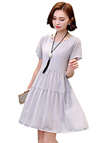 Women's Casual/Daily / Plus Size Street chic Chiffon Dress,Solid Round Neck Knee-length Short Sleeve Black / Gray Silk / Polyester Summer