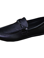 Men's Loafers & Slip-Ons Spring / Fall Moccasin / Comfort Leatherette Casual Flat Heel Lace-up Black / Brown / White