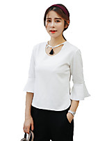 Women's Solid Pink / White / Gray Blouse,Round Neck ¾ Sleeve