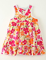 Girl's Going out Print Dress,Polyester Summer Orange