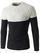 Men's Casual Slim Twist Spell Color Pattern Pullover,Cotton / Polyester Long Sleeve