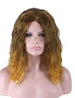 dos tonos de color ombre larga peluca de pelo sintético medio.