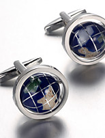 Men's Fashion Earth Style Silver Alloy French Shirt Cufflinks (1-Pair)