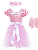 3PCS Girl's Pink Dress,Floral Polyester Summer / Spring / Fall