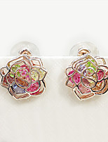 Cute Style Hollow Rose Color Crystal Lady Earrings