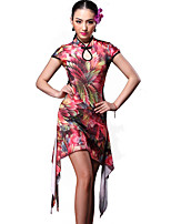 Latin Dance Dresses Women's Training Spandex Pattern/Print / Leopard 2 Pieces Purple / Red / Leopard Print Latin Dance Short Sleeve