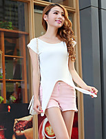 Women's Solid White Pullover,Street chic Short Sleeve