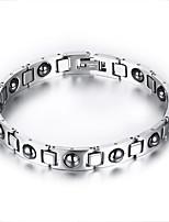 Men's Jewelry Health Care Silver Titanium Steel Hematite Bracelet