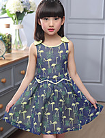 Girl's Cotton Summer Fashion Chiffon Swan  Printing  Jumper Skirt  Lace Dress