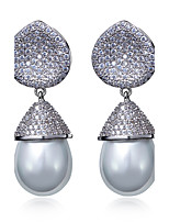 Fashion for Women Earring White Cubic Zirconia 18K Gold Plated & Imitation Pearls Dorp Earrings Weddin Jewerly
