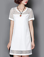 Women's Going out / Plus Size Street chic Dress,Patchwork Round Neck Above Knee Short Sleeve White / Black Polyester Summer