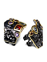 New Elegant evening cocktail Black Gold Plated Earrings Cubic Zirconia Brass Stud earrings for women