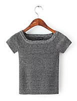 Women's Solid Red / White / Black / Gray Pullover,Street chic Short Sleeve