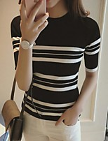 Women's Striped Pink / White / Black Pullover,Street chic ½ Length Sleeve