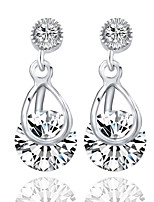 Inlay Zircon Crystal Female Korean Long Section Of Silver Dandelion Earrings