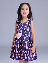 Girl's Casual/Daily Print Dress,Cotton / Polyester All Seasons Blue