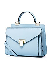 NUCELLE Women Real Genuine Cowhide Leather Purse Envelope Satchel Event Casual Shoulder Hand Bag -Blue / Gray / Black