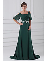 Formal Evening Dress A-line Square Court Train Chiffon with Appliques / Beading / Pleats