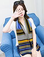 Women Long Paragraph Blue Stripes Pattern Printing Multi-purpose Scarf Fashion Career Decorative Work Casual Silk