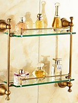 Antique Brass-Plated Brass Material Bathroom Shelves