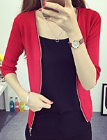 Women's Solid Red / Beige / Black / Gray Cardigan,Street chic ½ Length Sleeve