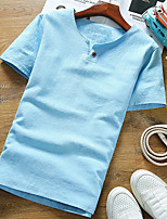 Classic Men Round Collar T-Shirt Short Sleeve Tee T-shirt Solid Color