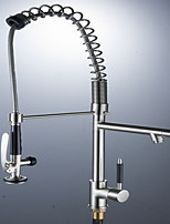 Single Handle Pull Down Kitchen Faucet  Pre-rinse in Stainless Steel Brushed Nickel Wet Sink Bar Faucets Mixer Tap
