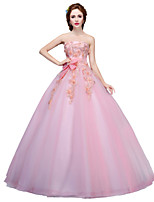 Formal Evening Dress Ball Gown Strapless Floor-length Tulle with Appliques / Crystal Detailing / Flower(s)
