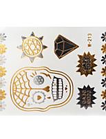 Lovely Waterproof Metal Elephant Gold Face Sticker W213