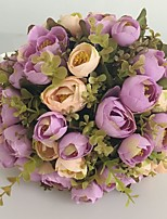 Bouquets de Noiva Redondo Rosas Buquês Casamento / Festa / noite Fúcsia / Champagne / Borgonha Cetim 9.84