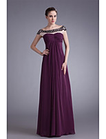 A-line Mother of the Bride Dress-Grape Floor-length Chiffon