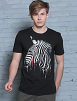 Zebra Creative T-shirt Men Causal Cotton Short Sleeve Tops Tees Horse Animal T-shirt New Funny T shirt Male