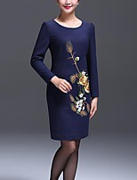 Women's Party/Cocktail / Plus Size Vintage Sheath Dress,Print Round Neck Above Knee Long Sleeve Blue Polyester Fall