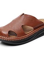 Zapatos de Hombre-Pantuflas-Exterior / Casual-Cuero-Negro / Marrón