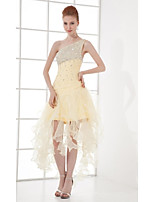 Cocktail Party Dress A-line One Shoulder Asymmetrical Organza with Beading / Crystal Detailing / Ruffles / Pleats