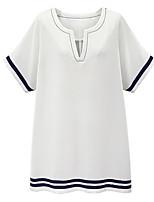 Summer Women's Plus Size Dresses V Neck Short Sleeve T Shirt Dress Loose Casual Striped Shift Dress