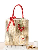 Women-Casual-Straw-Tote-Purple / Green / Red
