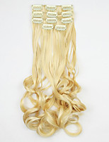 longitud 60 cm blanco de oro de alta temperatura de la extensión del pelo peluca alambre de pelo sintético