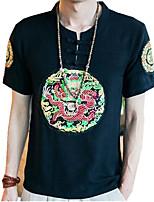 Tee-Shirt Pour des hommes Fleur Décontracté Manches Courtes Coton / Lin / Polyester Noir / Blanc