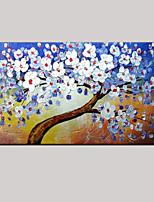 abstrait blanc bleu arbres de vie fleur peinture à l'huile peinte à la main avec cadre tendu