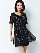 Women's Casual/Daily / Plus Size Simple Chiffon Dress,Polka Dot Round Neck Above Knee Short Sleeve Black Polyester Summer