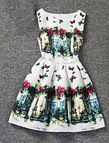 Girl's White Dress,Print Polyester Summer