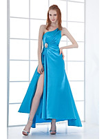 Formal Evening Dress A-line One Shoulder Asymmetrical Stretch Satin with Beading / Crystal Detailing / Pleats
