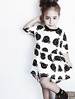 Girl's Cotton Fashion Cartoon Bear Cute Irregular Dress