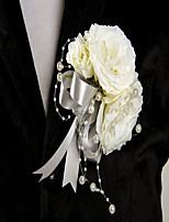 Bouquets de Noiva Forma-Livre Rosas / Peônias Alfinetes de Lapela Casamento / Festa / noite Marfim Cetim / Seda
