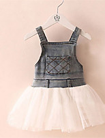 2016 Summer New Girls Dresses Denim Gauze Patchwork Fashion Dress Children Clothing